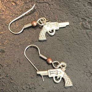Vintage Revolver Gun Silver Drop Earrings